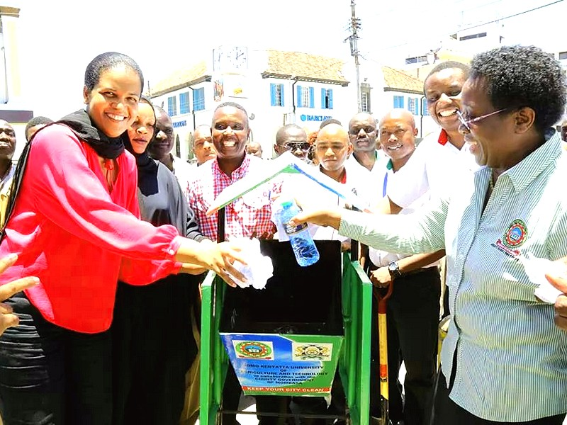With JKUAT VC and Hon. FatmaAwale when JKUAT donated litter bins to the County of Mombasa